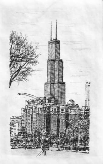Chicago Sears Tower 2003  Original drawings prints and