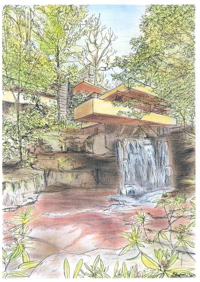 Fallingwater Bear Run Pennsylvania Original Drawings