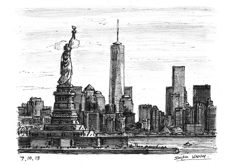 Prints Of Statue Of Liberty The View Of Freedom Tower Drawing