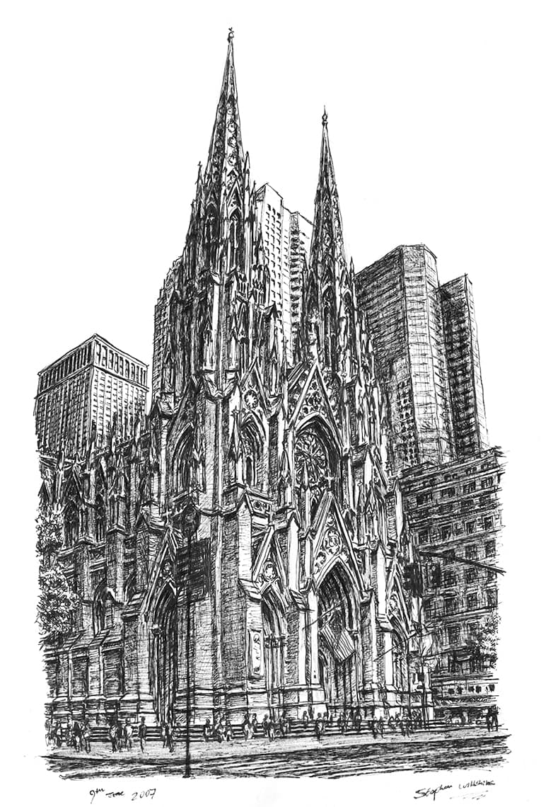 St Patricks Church New York - drawings and paintings by Stephen Wiltshire MBE