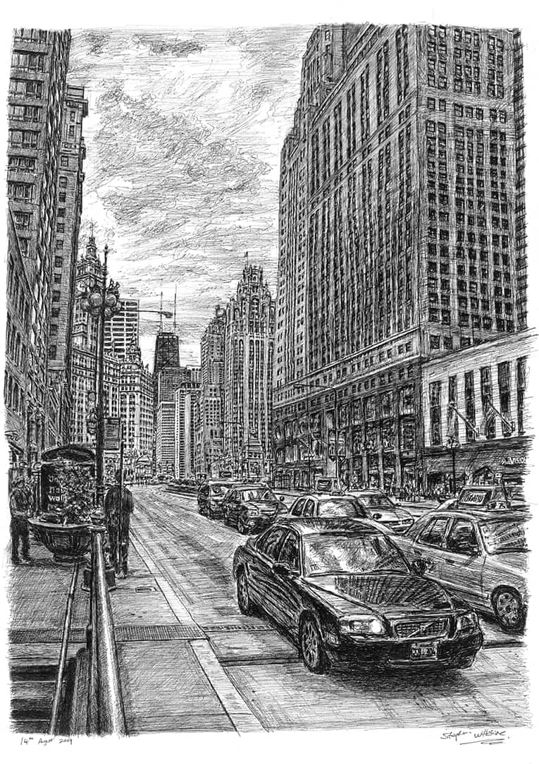 Chicago street scene - drawings and paintings by Stephen Wiltshire MBE