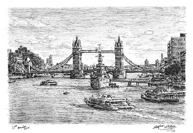 HMS Belfast and Tower Bridge London  Original drawings