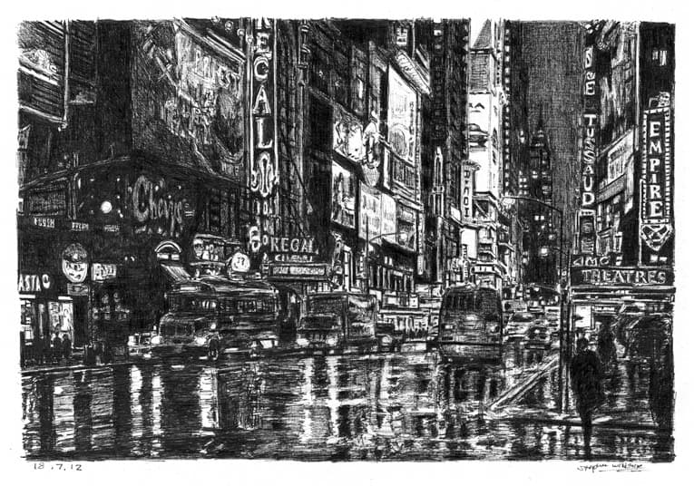 Times Square street scene - drawings and paintings by Stephen Wiltshire MBE
