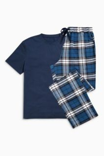 Navy Check Brushed Woven Set £24