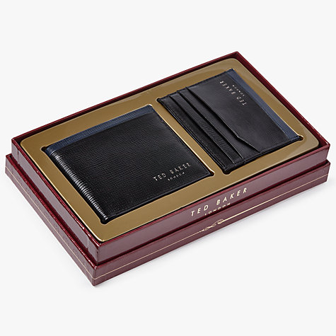Ted Baker Crossy Leather Wallet Gift Set, Black