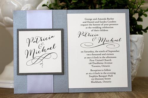Wedding Invitation 1537 Galvanized Dark Silver Charcoal Pearl Cream Smooth S Pro