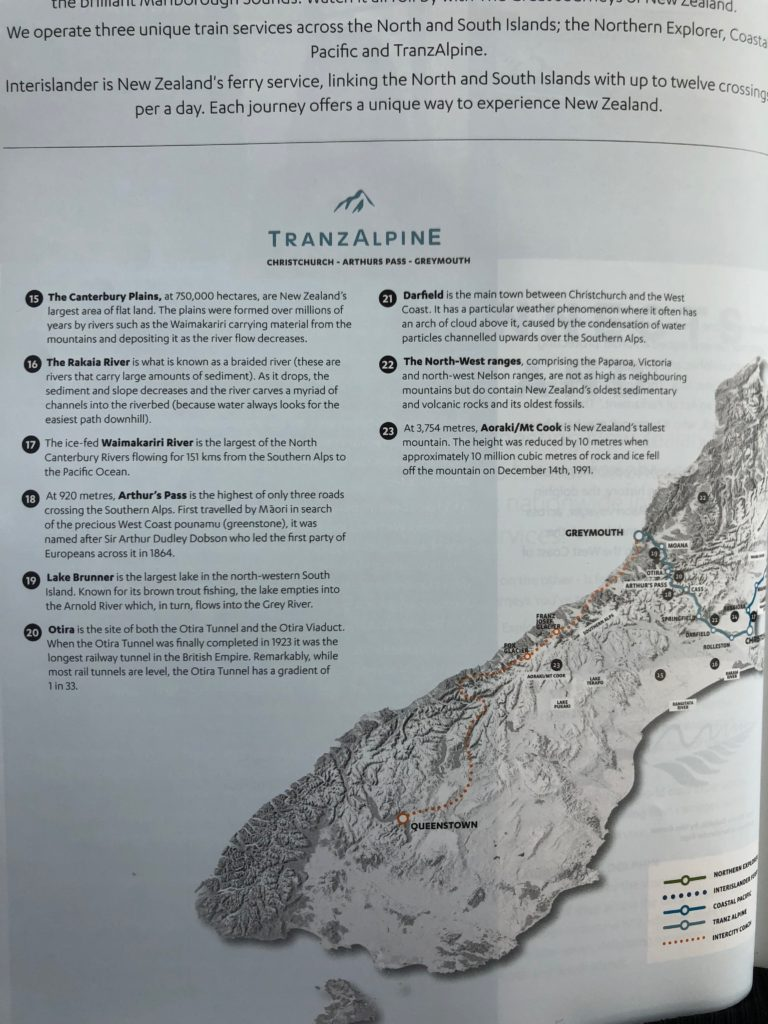 TranzAlpine Train Route Map