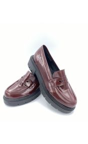 Loafers με τρακτερωτή σόλα - Μπορντό