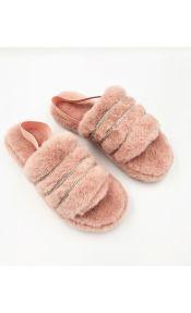 Γούνινες παντόφλες - Ροζ