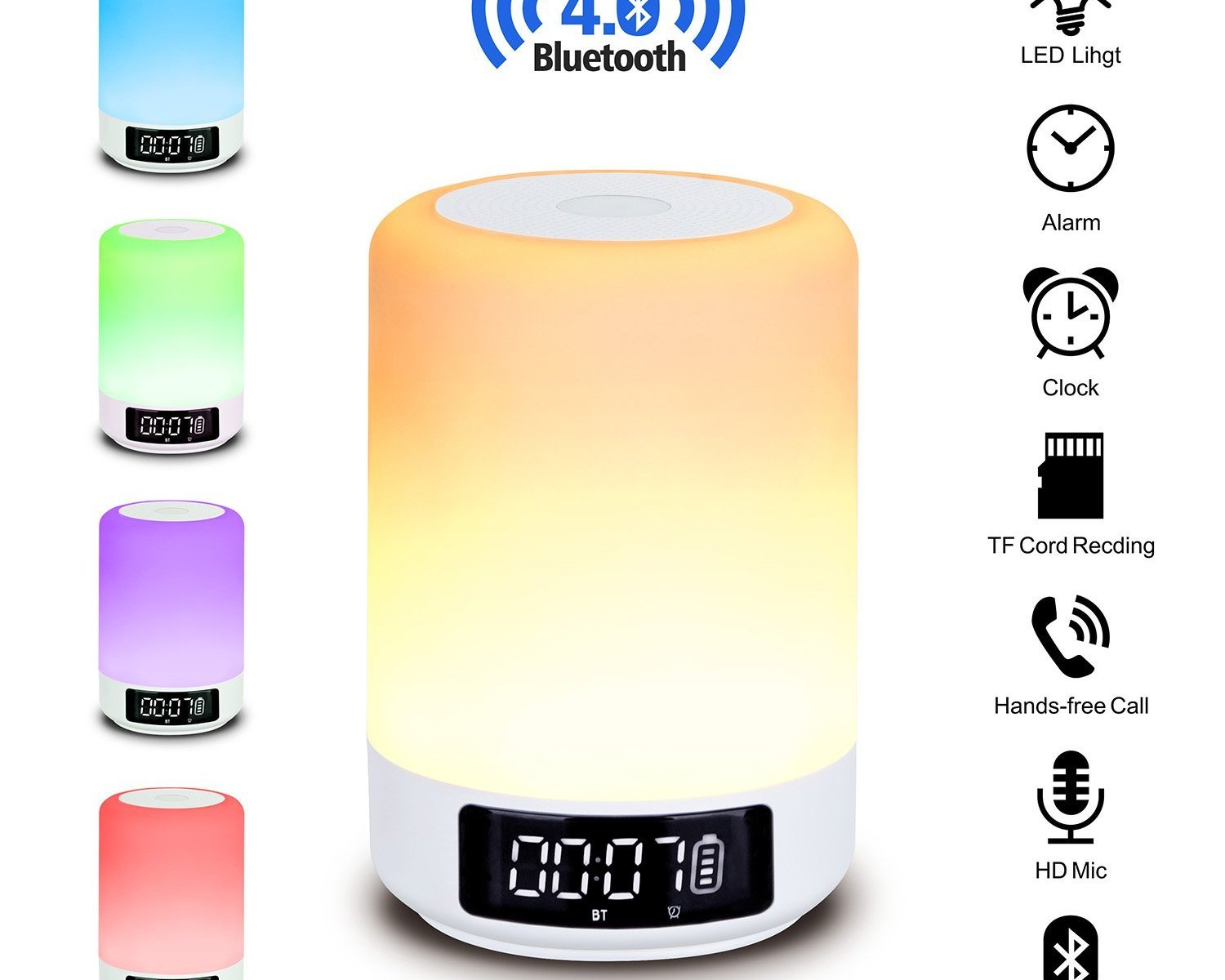 beawelle bluetooth lautsprecher farbwechsel lampe nachttischlampe touch control lampe rgb led. Black Bedroom Furniture Sets. Home Design Ideas