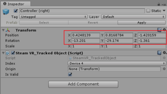 Gameobject transform in Unity inspector