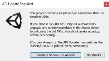 API update message from Unity