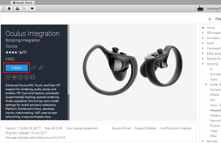 Unity Asset Store Oculus Integration