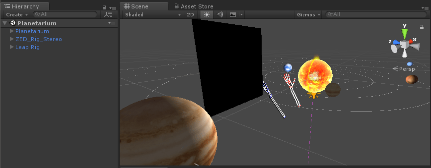 Leap Motion hand tracking added to scene