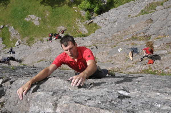 Phew, big holds at the top of Vetta (E1 5a)