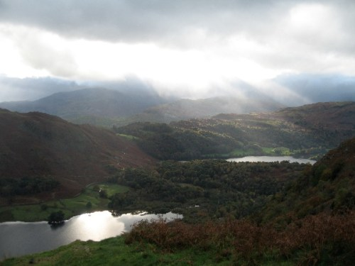 Sunbeams over Rydal Water and Grasmere