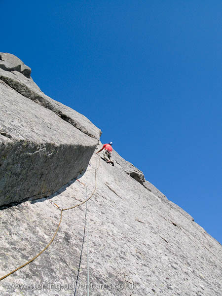 The crux 9th pitch, the Slanting Corner