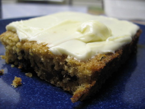 Anna's homemade courgette fruit square with cream cheese icing.. YUM!
