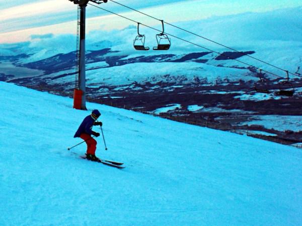 Rachel sitting too far back on her skis