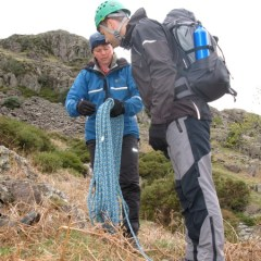Carol about to show Mick how to set up a belay