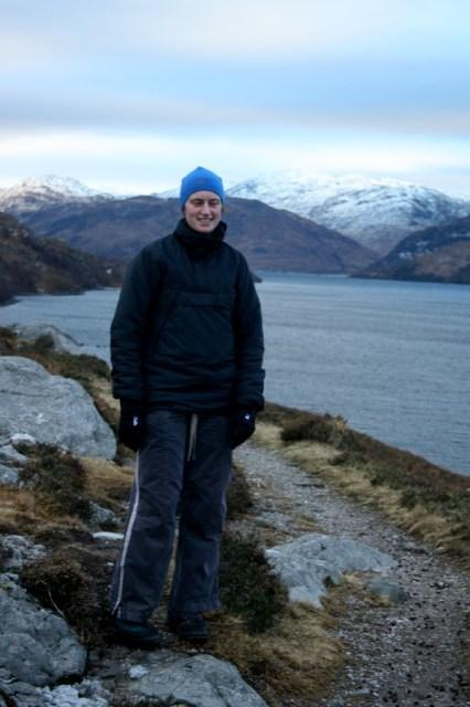 Rachel on the walk around Loch Morar.