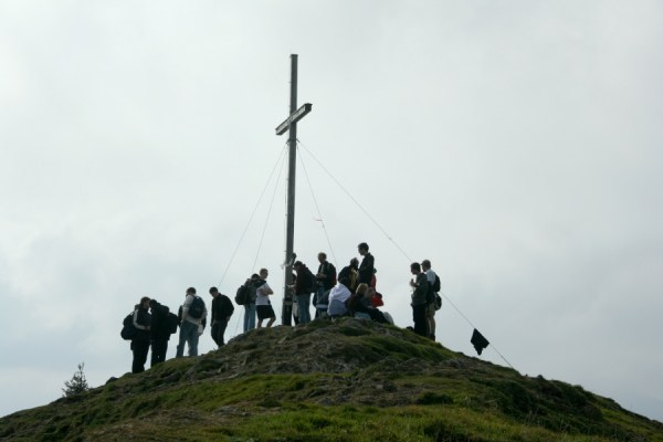 The conference participants at the top of the mountain.