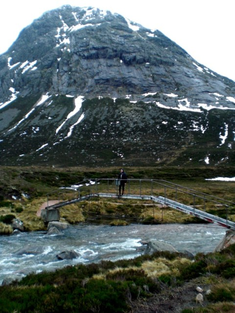 Rachel on the footbridge at Devil's Point
