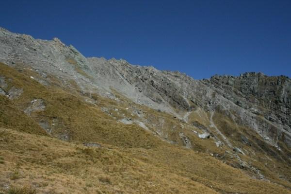 Looking up at Headlong Peak.