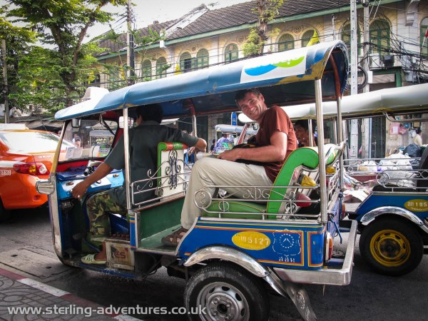 Pete getting in to our Tuk Tuk ride back to the hotel.