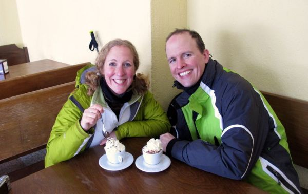 Rebecca and Mathias enjoying Italian style hot-chocolate - basically just molten milk chocolate!  :yum:  :yum: