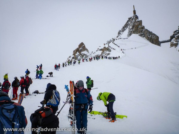 I've never seen the arete from the Aiguille du Midi this busy before!  I guess that's what happens on a Saturday with the first calm weather for days.