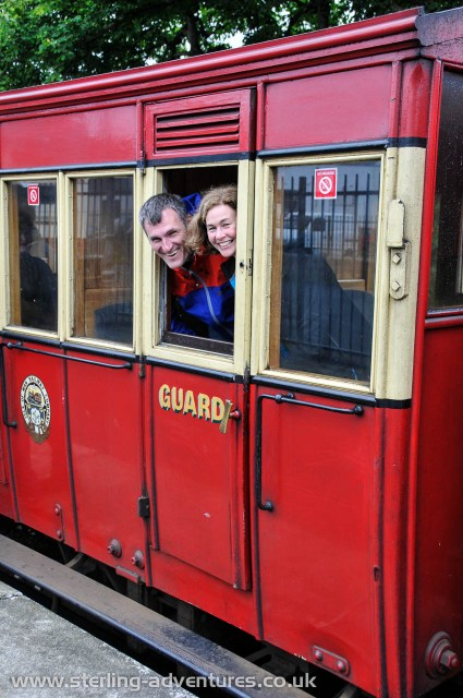 Pete and Caroline wait in the guards carriage for the steam train to leave for Douglas...