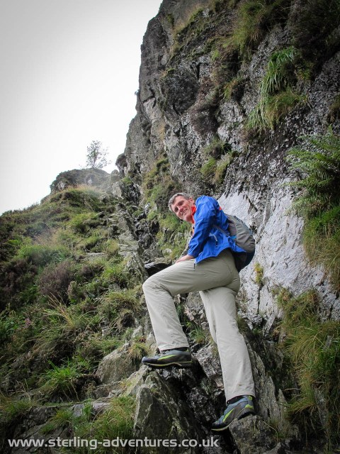 Pete at the start of Jack's Rake on Pavey Ark