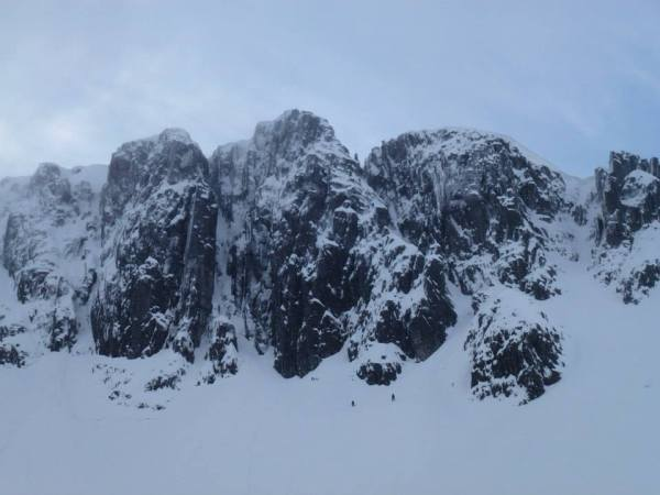 The cliff of Stob Coire Nan Lochan, with Sc visible in the centre (Photos courtesy of Gordon Smith)