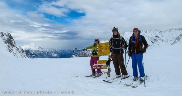 Rebacca, Mathias, and Pete at the Col de Balme.
