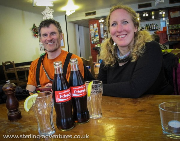 Pete and Rebecca enjoying a coke at Trient waiting for the bus back to Vallorcine