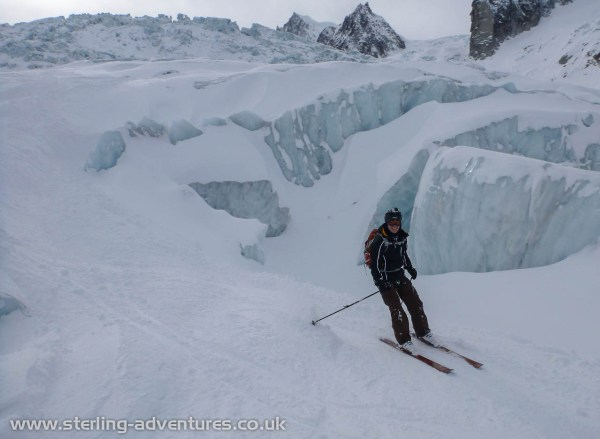 Mathias skiing through a section of the Geant Ice Fall
