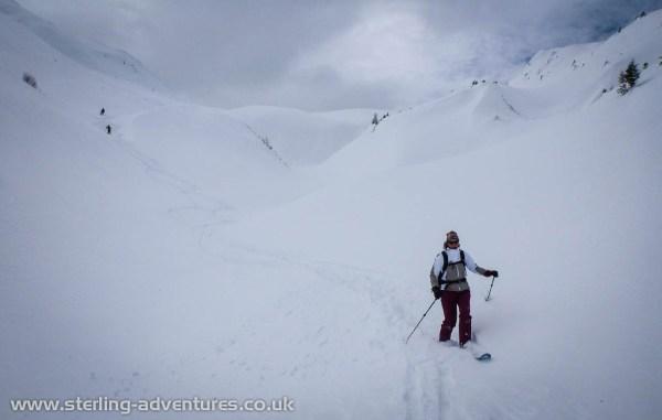 Laetitia making fresh tracks down to Trient from the Col de Balme