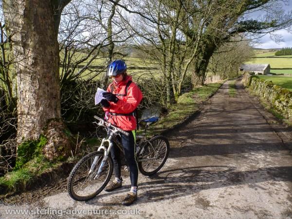 Laetitia checks the route directions near Austwick