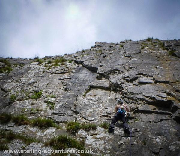Ali climbing at Robin Proctor's Scar