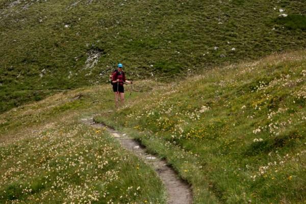 Rachel walking through fields of wildflowers.