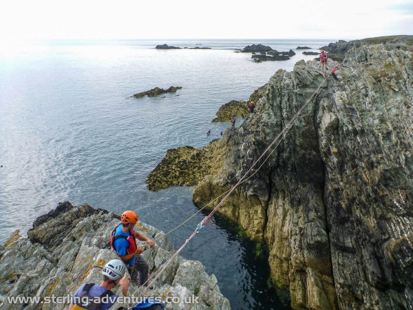 Coasteering rope work and rigging a tyrolean traverse