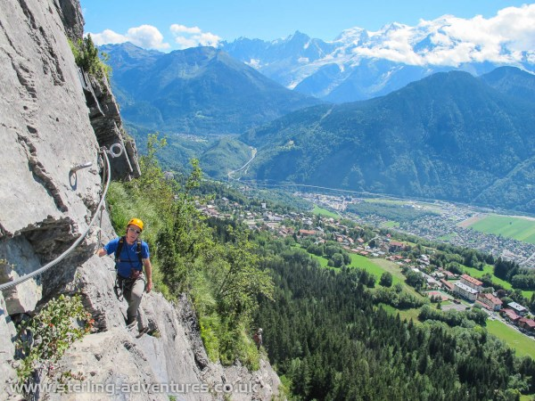 Ian and the spectacular backdrop looking up the Chamonix valley towards Mont Blanc