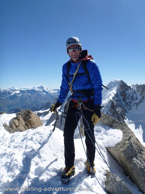 Pete on the summit of Aiguille du Chardonnet