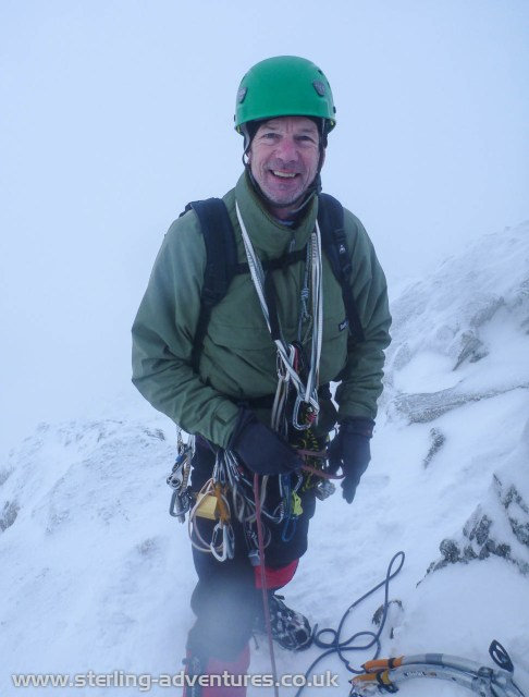 Steve near the top of Great End - the cloud was thickening in to a white-out, it had been blue skies when we arrived at the base of the crag