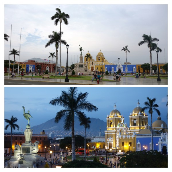 Plaza de Armas on our first day and on our final day.
