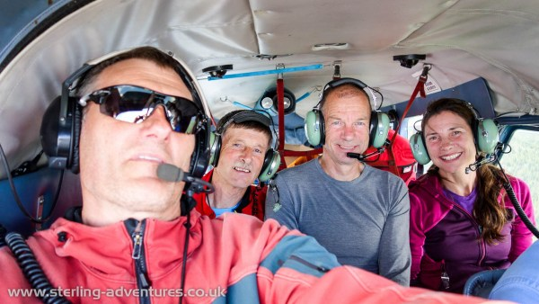Pete, Ted, Steve, and Laetitia on board the beaver float plane