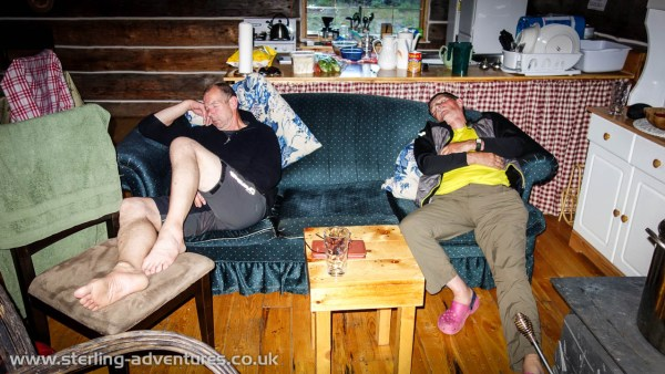 Steve and Ted catch up on some sleep in the comfortable Aurora cabin
