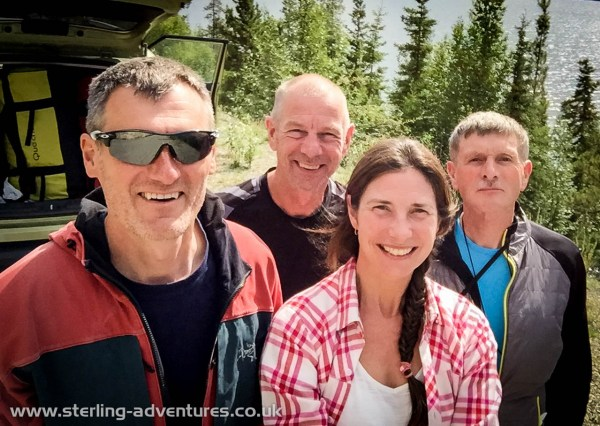 Pete, Steve, Laetitia, and Ted on the long journey from the UK to Canada's North West Territories