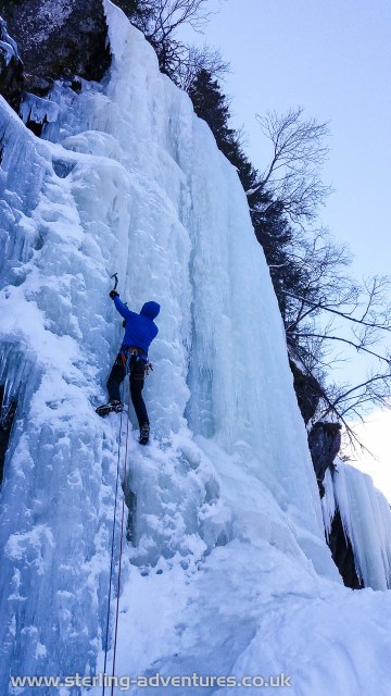 Climbing the steepest line on the classic and easily accessed Vermorkbrufossen Vest